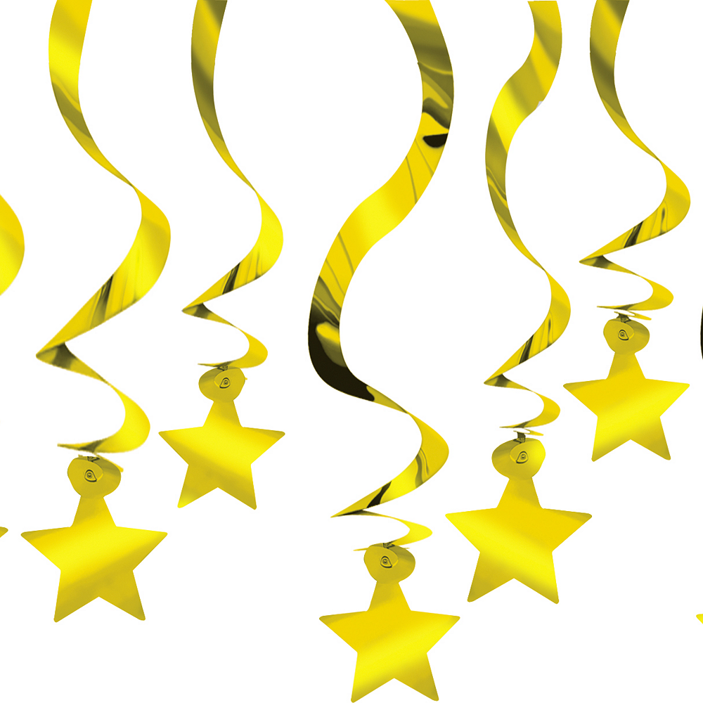 Gold Star Swirl Decorations 30ct Image #1