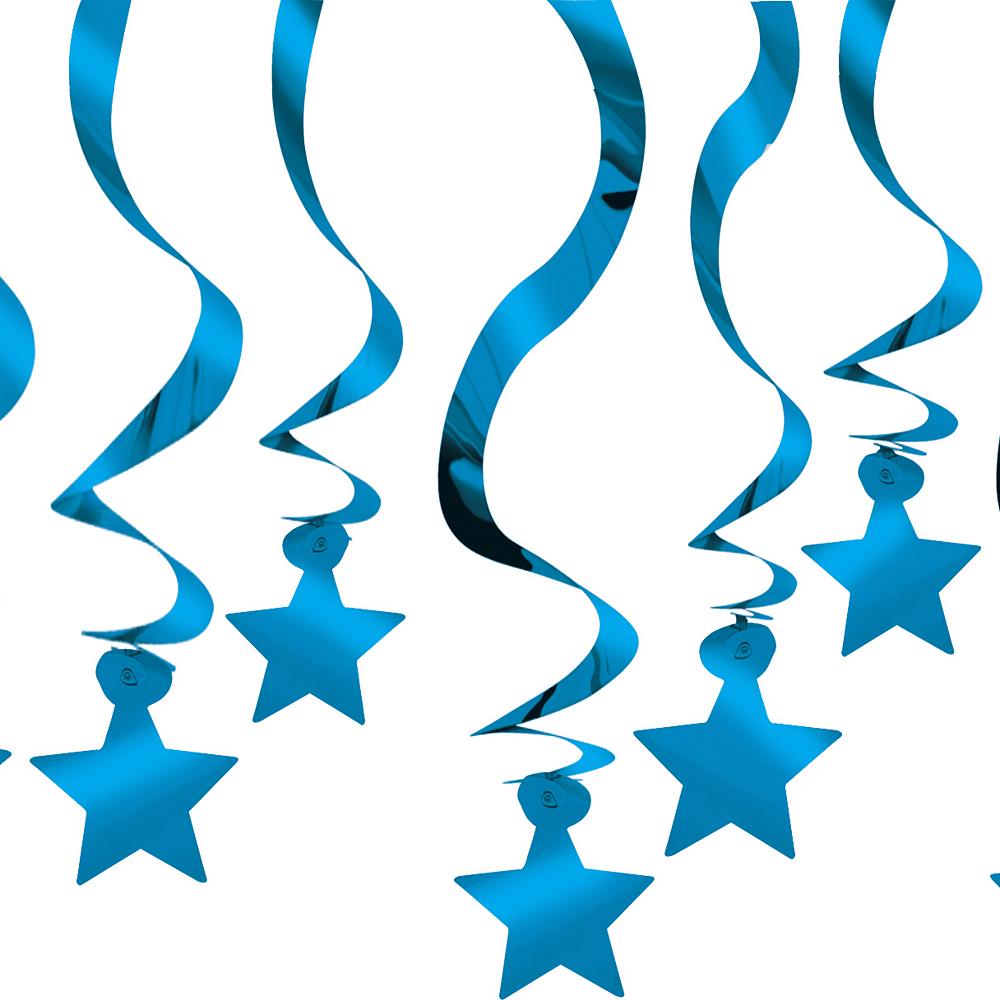 Royal Blue Star Swirl Decorations 30ct Image #1