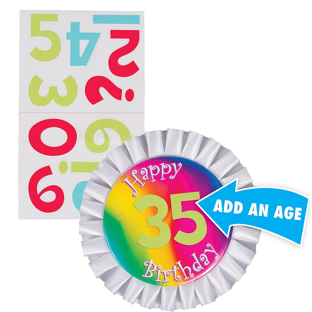 Nav Item For Rainbow Happy Birthday Personalized Button Image 1