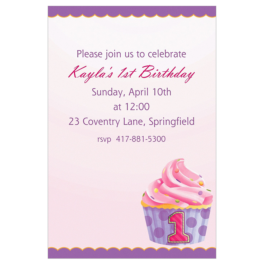Custom 1st Birthday Pink Invitations Image #1
