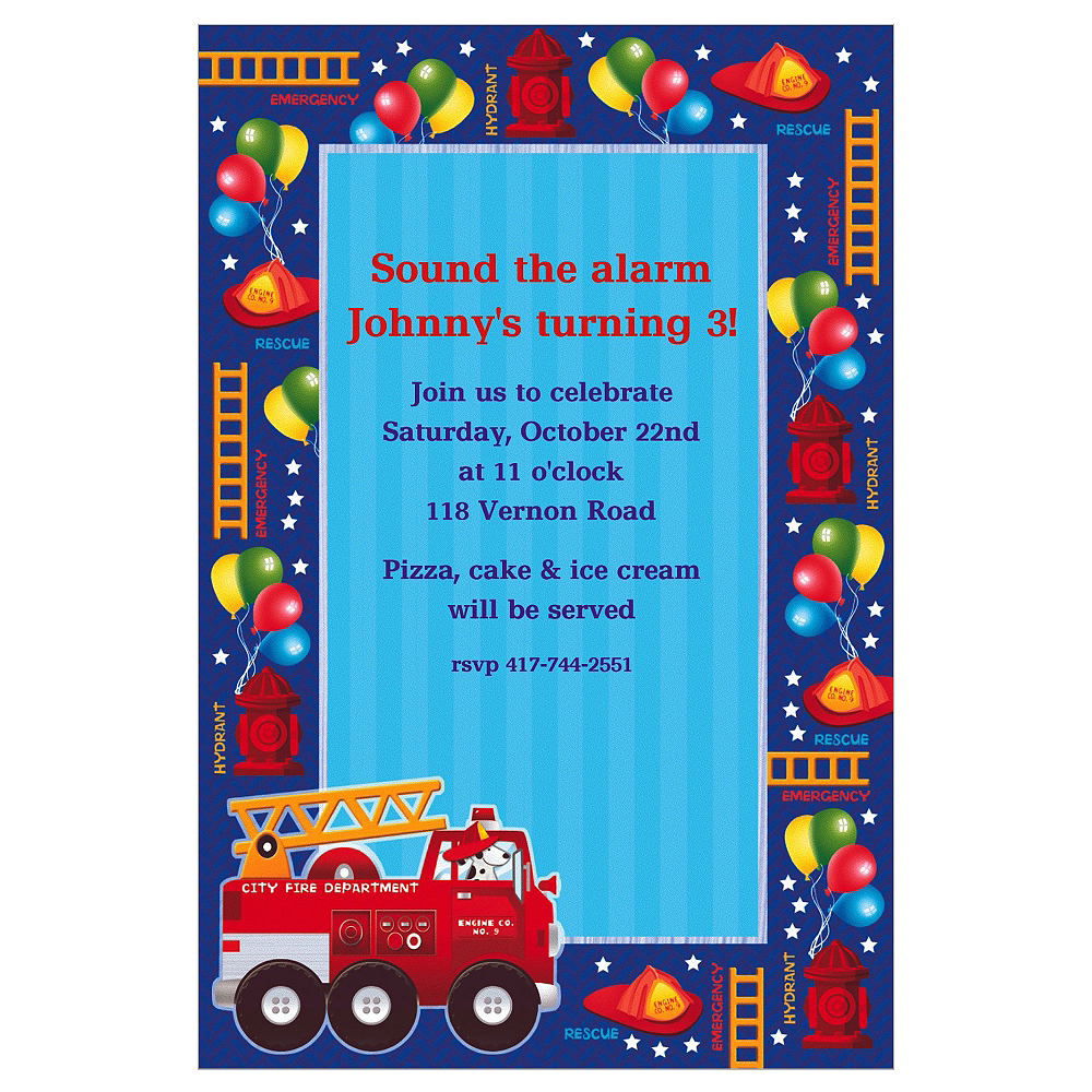Custom Fire Engine Fun Invitations Image #1