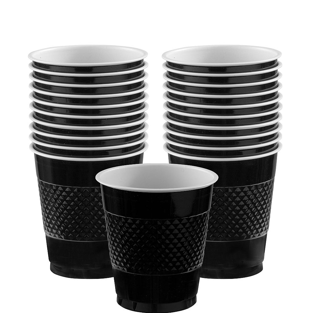 Black Plastic Cups 20ct Image #1