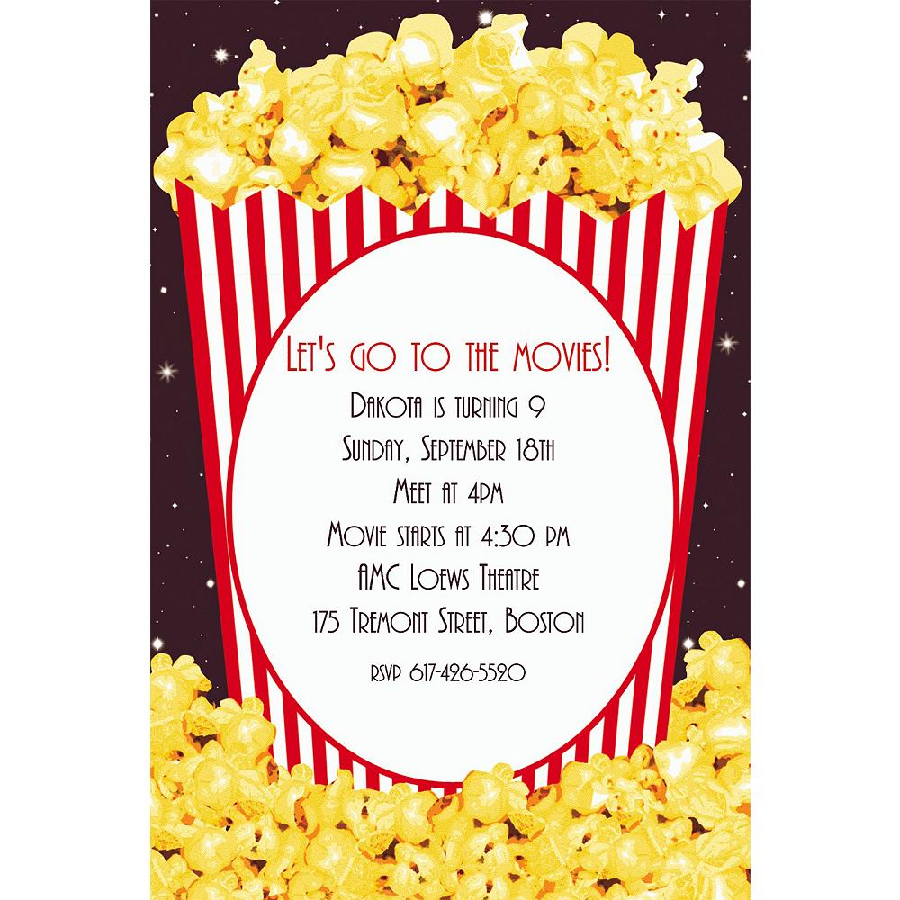 Custom Movie Night Popcorn Invitations Image #1