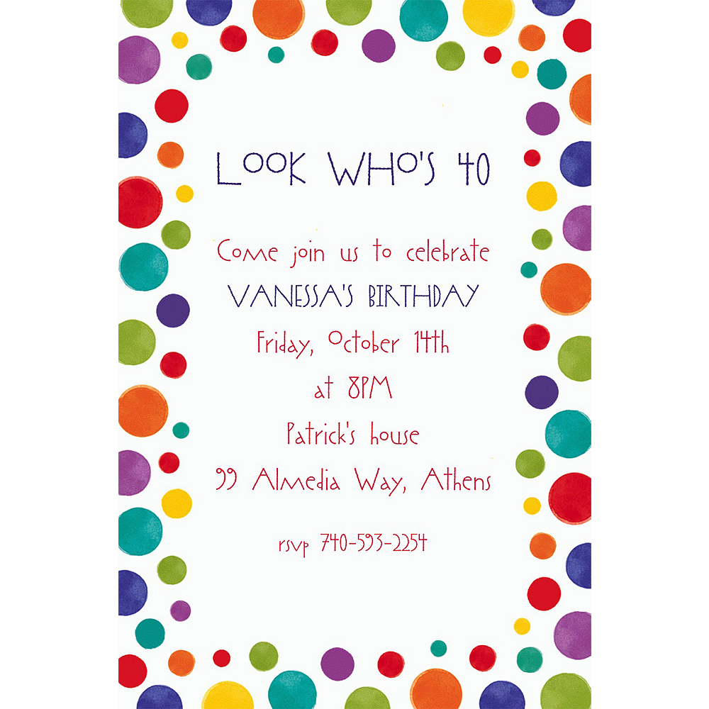 Custom Party Birthday Invitations Image #1