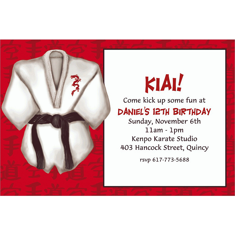 Custom Black Belt Invitations Image #1