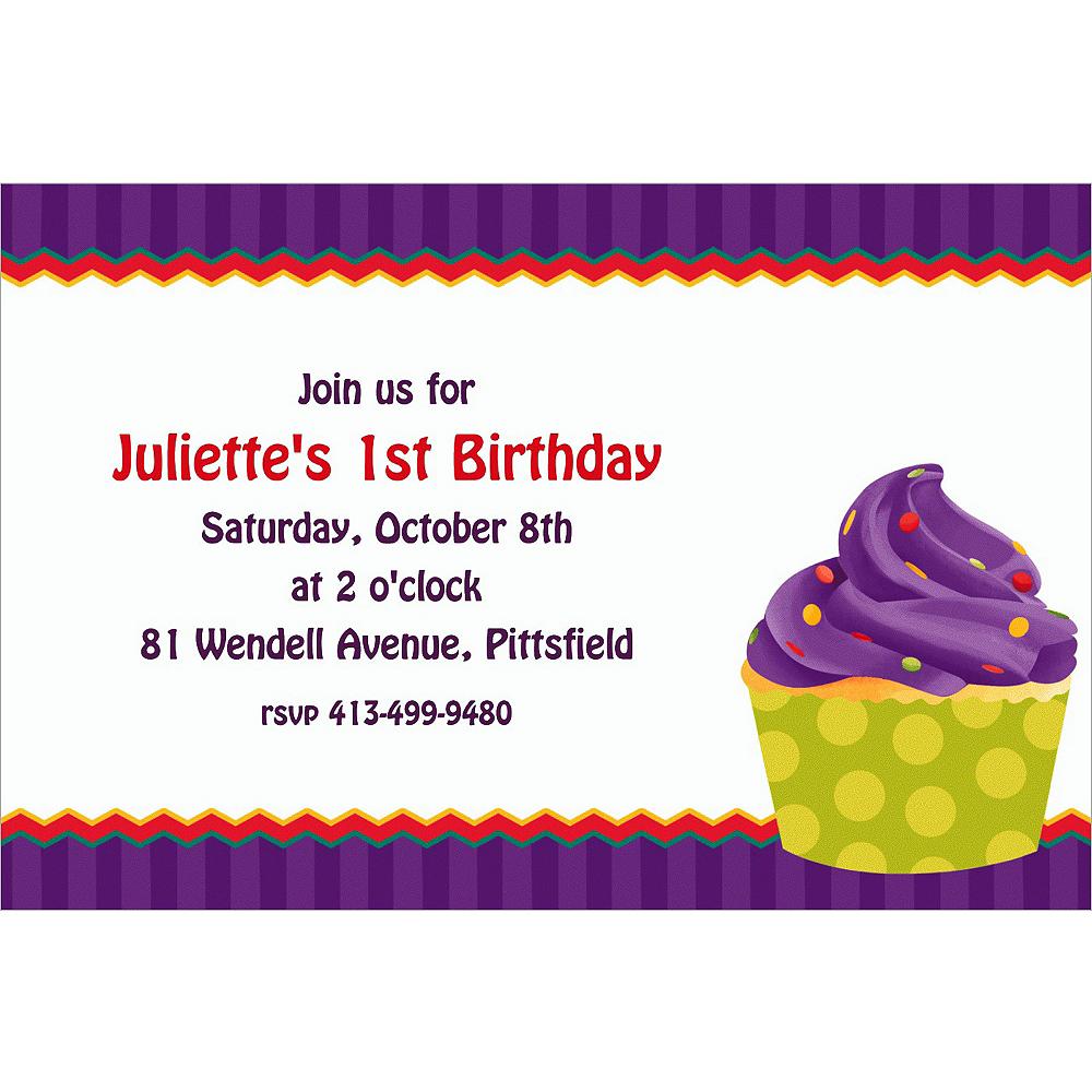 Custom 1st cupcake invitations party city custom 1st cupcake invitations filmwisefo
