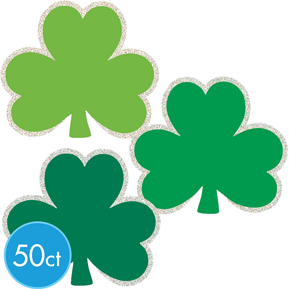 Nav Item for Glitter St. Patrick's Day Shamrock Cutouts 50ct Image #1