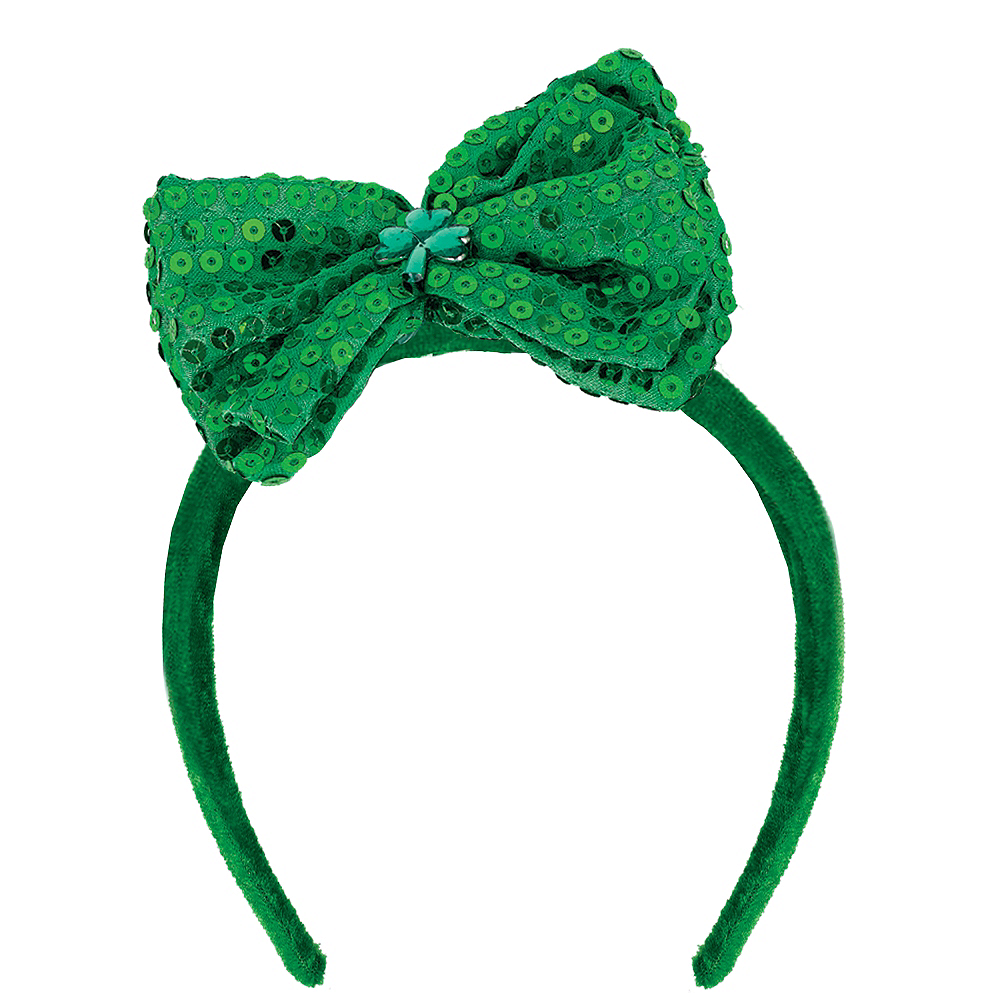Sequined St. Patrick's Day Bow Headband Image #1