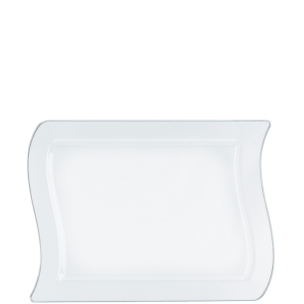 Wavy CLEAR Premium Plastic Rectangle Dessert Plates 10ct Image #1