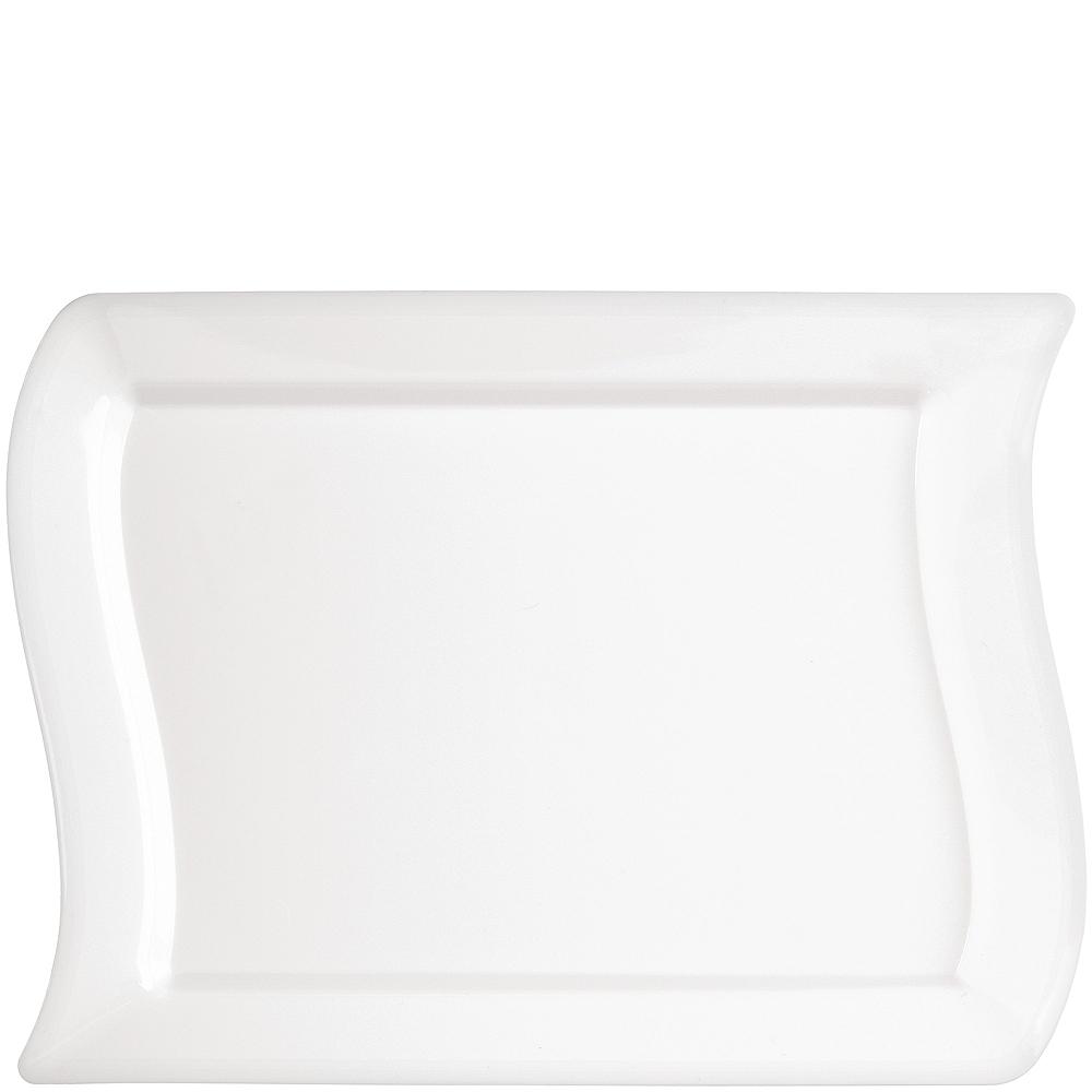 Wavy White Premium Plastic Rectangle Lunch Plates 10ct Image #1