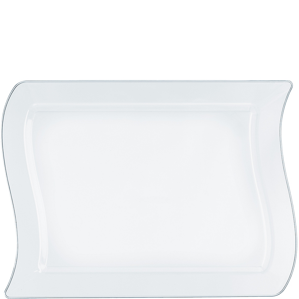 Wavy CLEAR Premium Plastic Rectangle Lunch Plates 10ct Image #1
