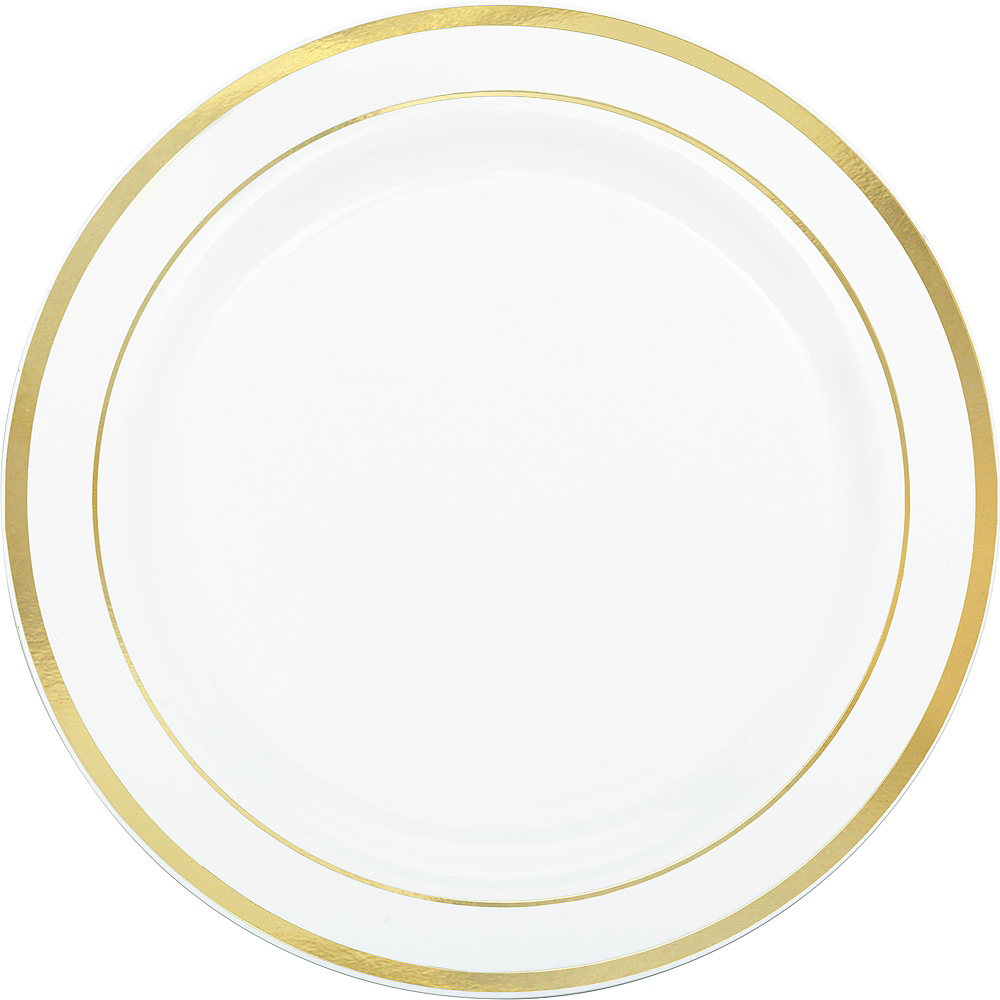 White Gold-Trimmed Premium Plastic Dinner Plates 10ct Image #1