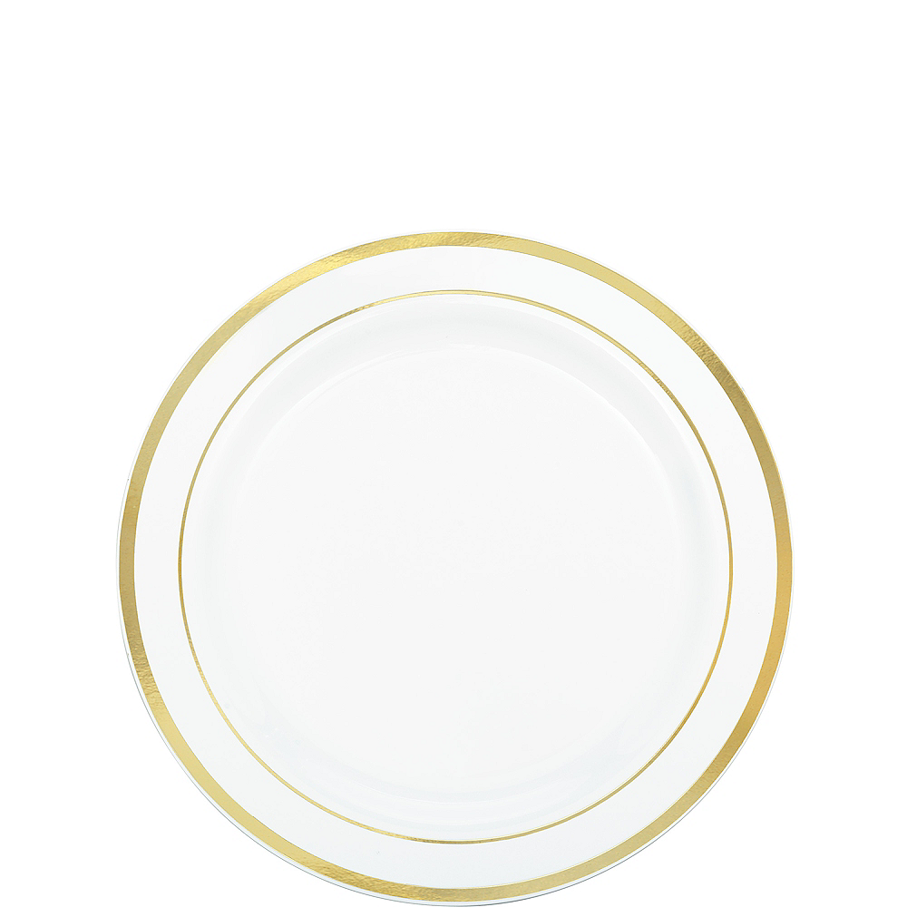 White Gold-Trimmed Premium Plastic Appetizer Plates 20ct Image #1