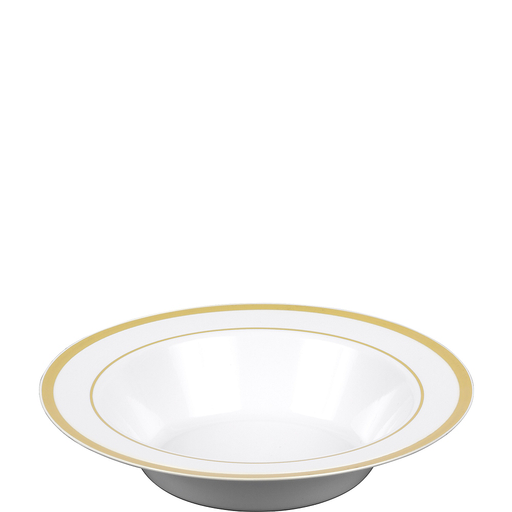 White Gold-Trimmed Premium Plastic Bowls 10ct Image #1