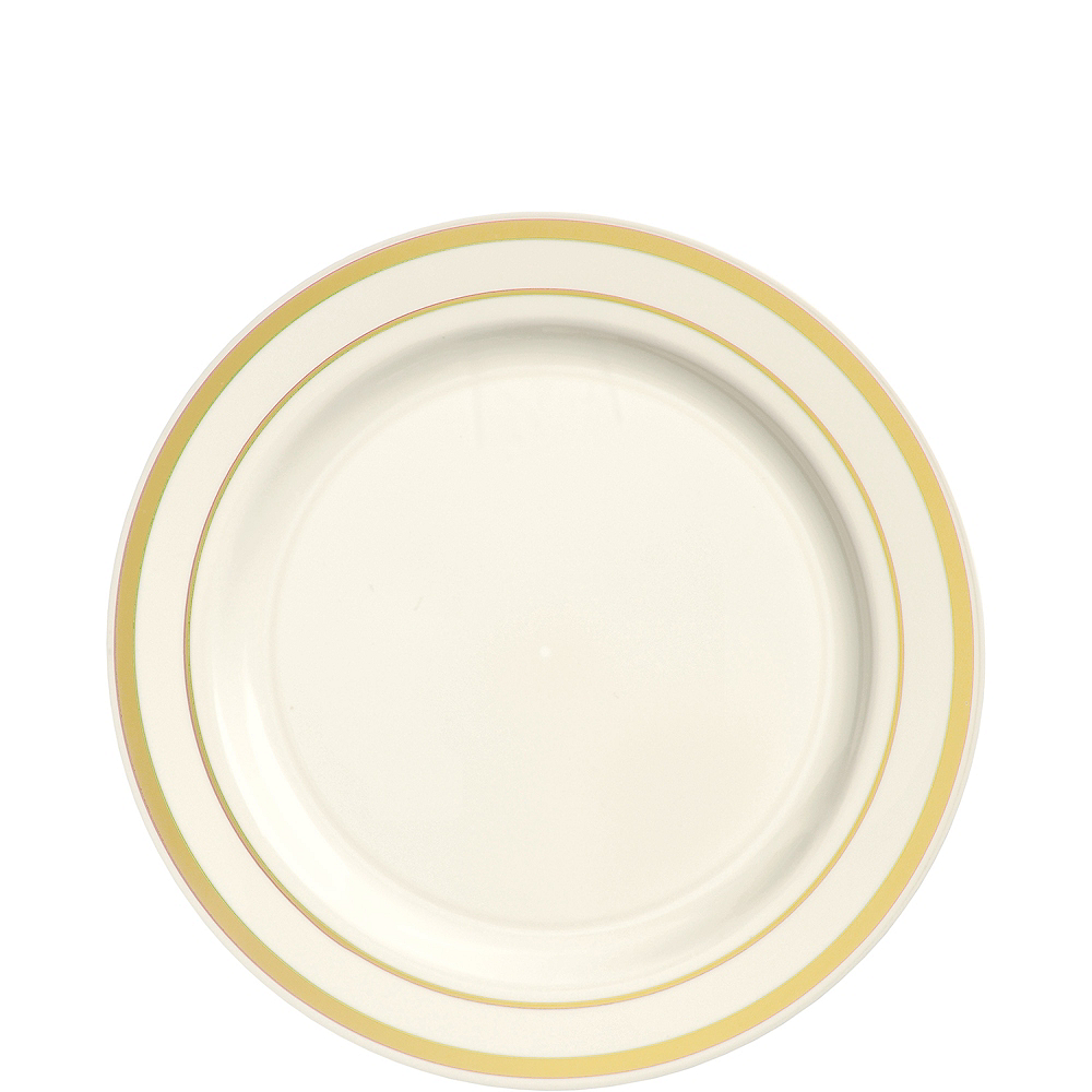 Nav Item for Cream Gold-Trimmed Premium Plastic Appetizer Plates 20ct Image #1