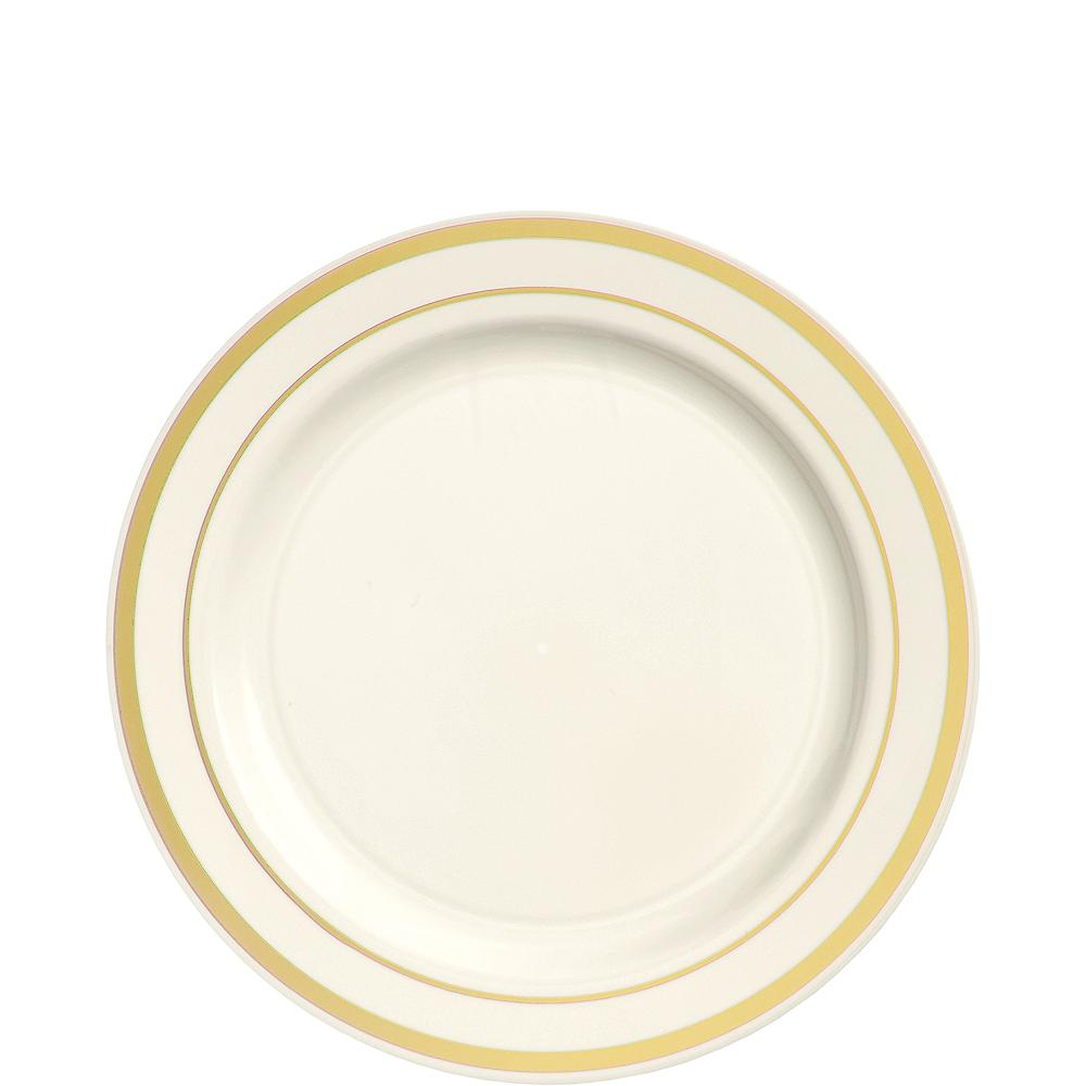 Cream Gold-Trimmed Premium Plastic Appetizer Plates 20ct Image #1