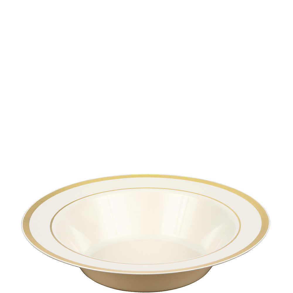 Nav Item for Cream Gold-Trimmed Premium Plastic Bowls 10ct Image #1
