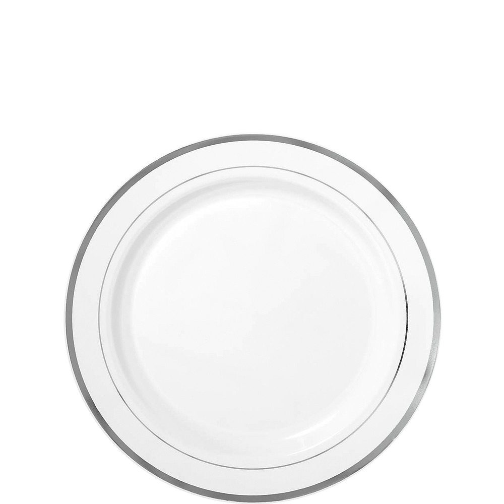 White Silver-Trimmed Premium Plastic Appetizer Plates 20ct Image #1