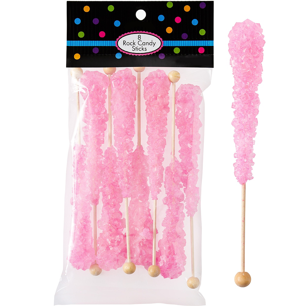 Pink Rock Candy Sticks 8pc Image #1
