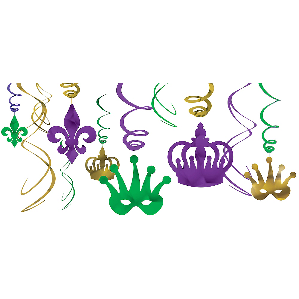 Nav Item for Mardi Gras Swirl Decorations 12ct Image #1