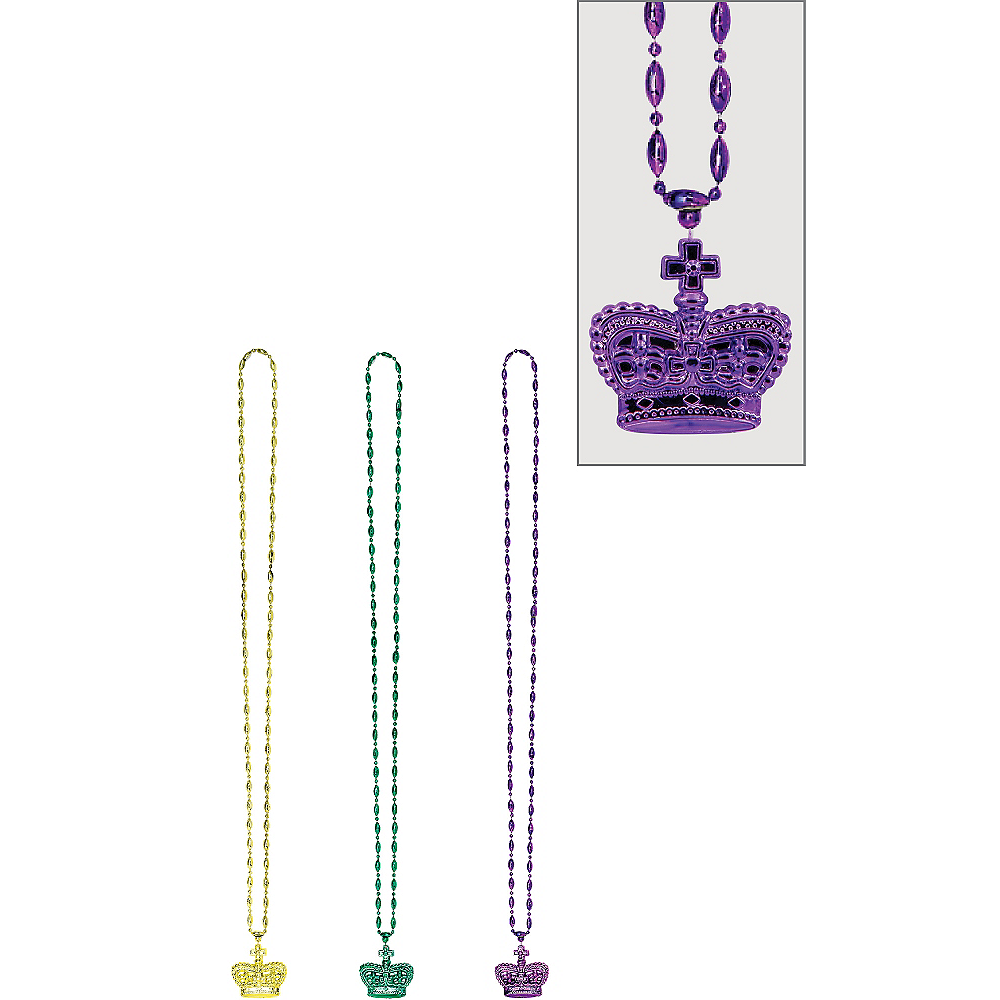 Crown Mardi Gras Pendant Bead Necklaces 3ct Image #1