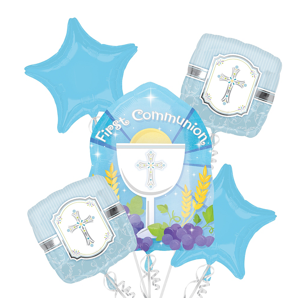First Communion Balloon Bouquet 5pc - Blue Blessings Image #1