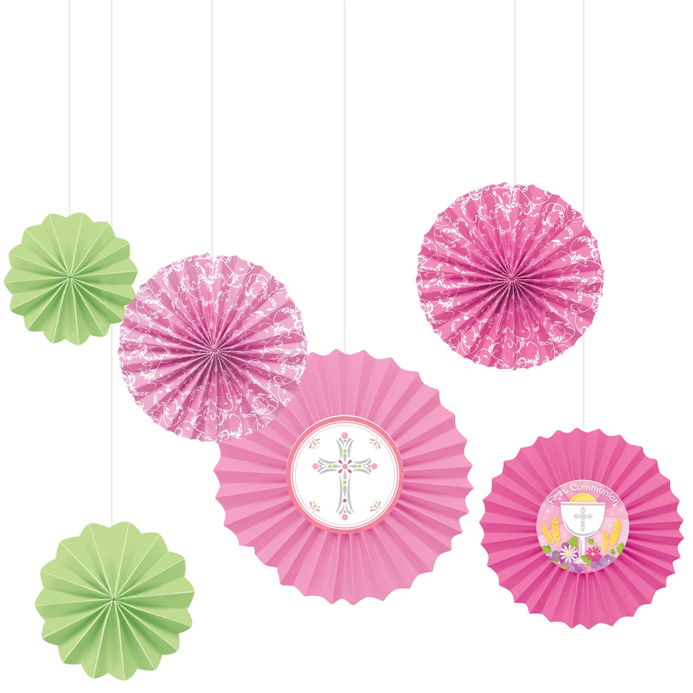 Pink First Communion Paper Fan Decorations 6ct Image #1