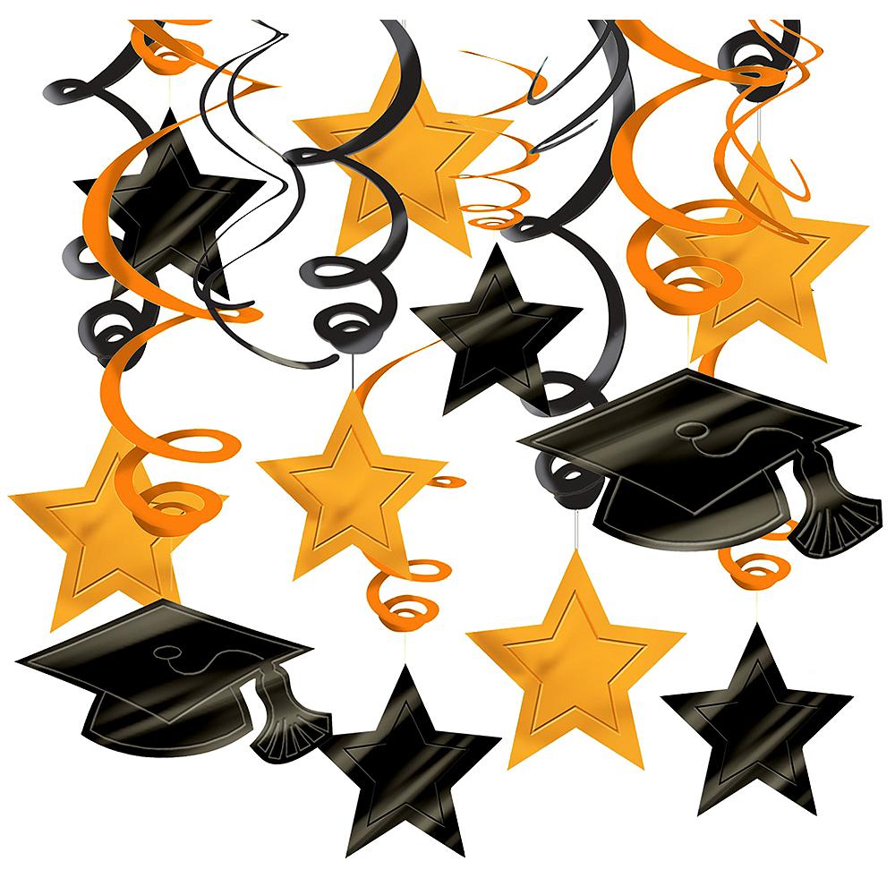 Orange Graduation Swirl Decorations 30ct Image #1