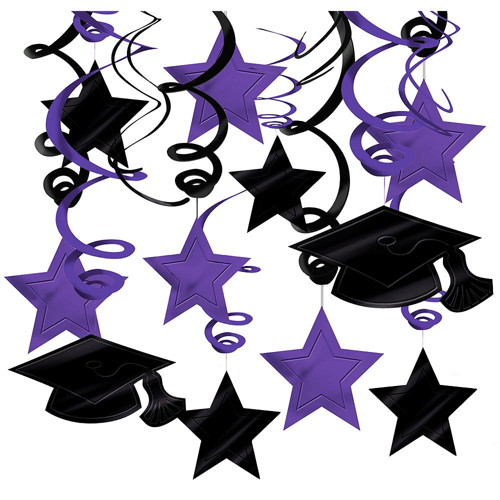 Purple Graduation Swirl Decorations 30ct Image #1