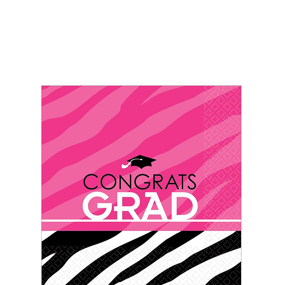 Zebra Party Graduation Beverage Napkins 16ct Image #1