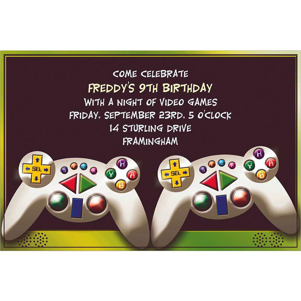 Custom video game invitations party city custom video game invitations filmwisefo