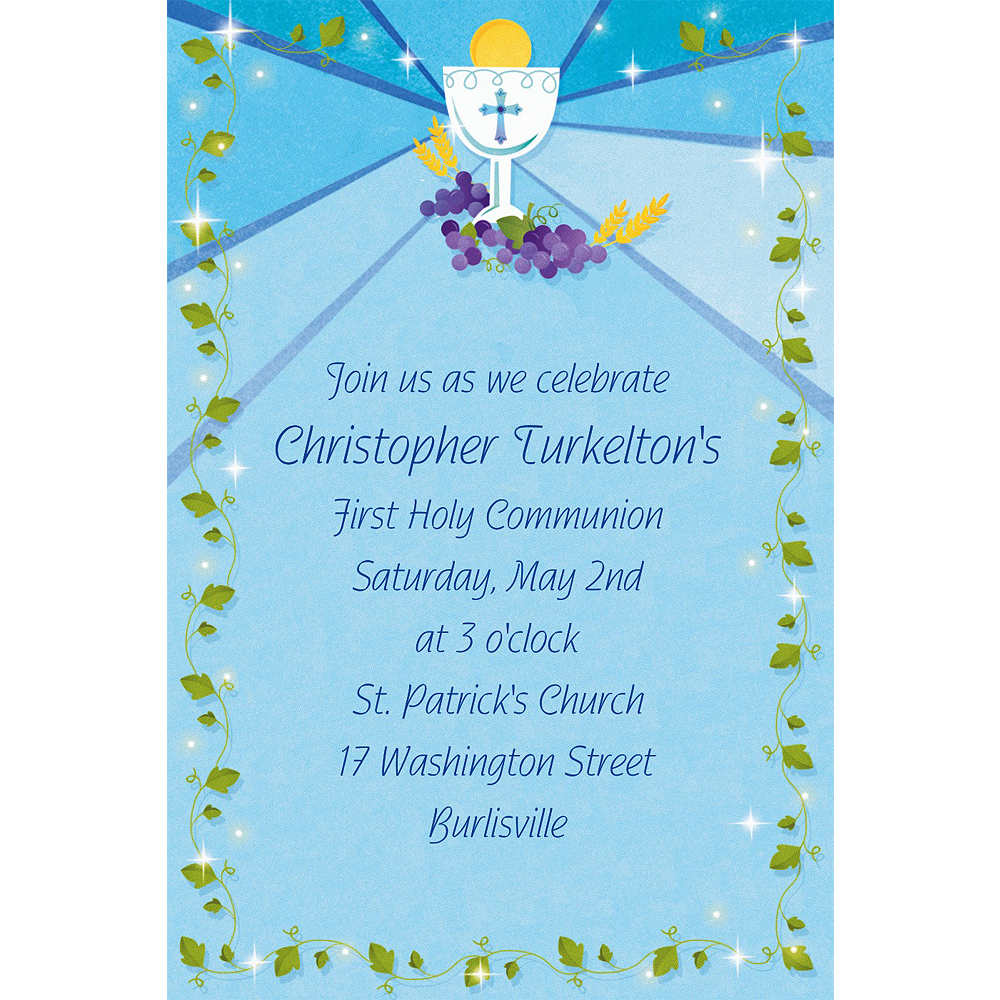 Custom Blue First Communion Invitations Image #1