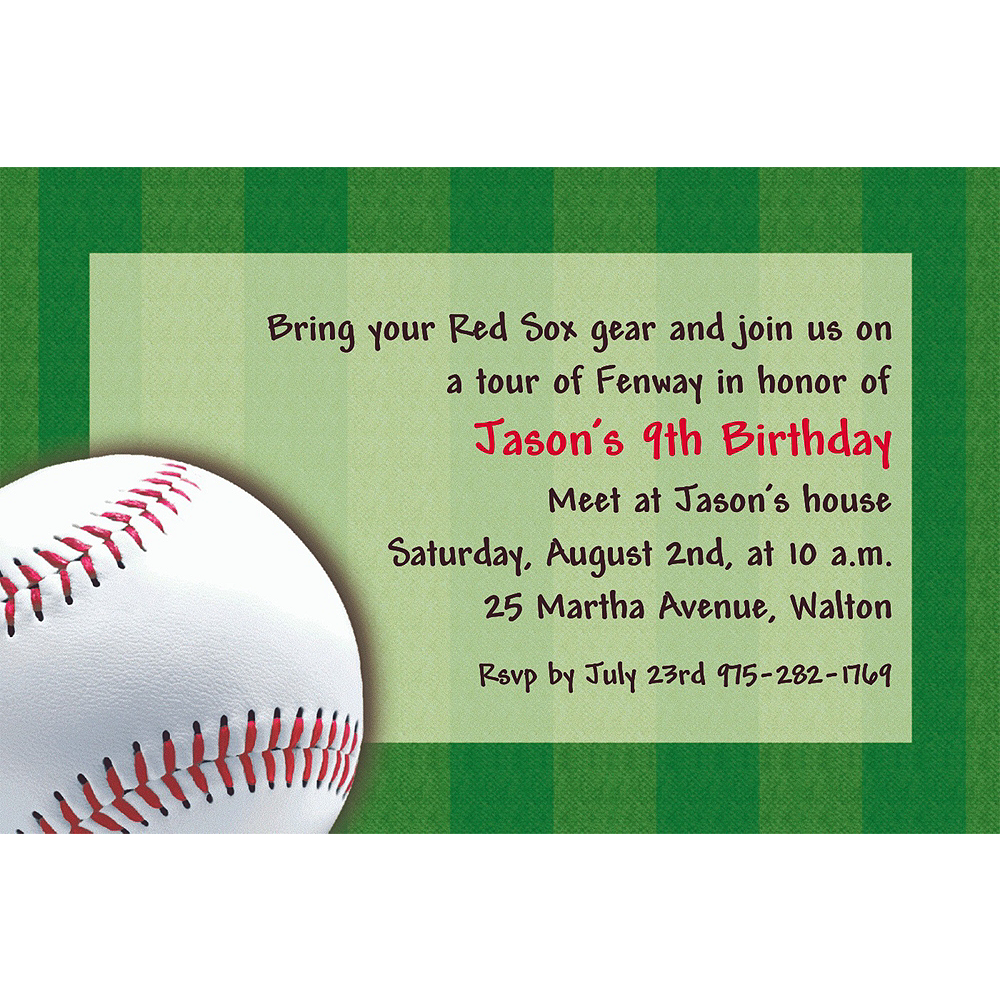 Custom Baseball Fun Invitations Image 1