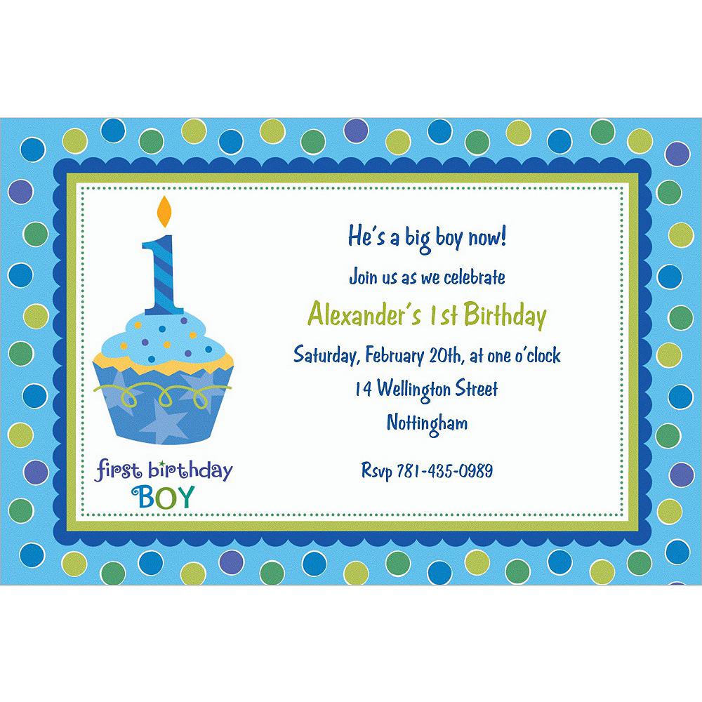 Custom Sweet Little Cupcake Boy Invitations Image #1