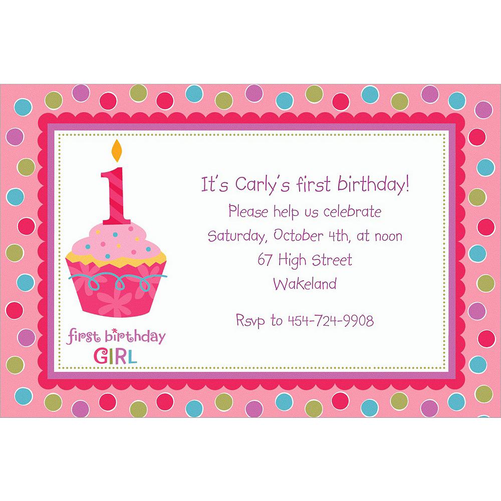 Custom Sweet Little Cupcake Girl Invitations | Party City