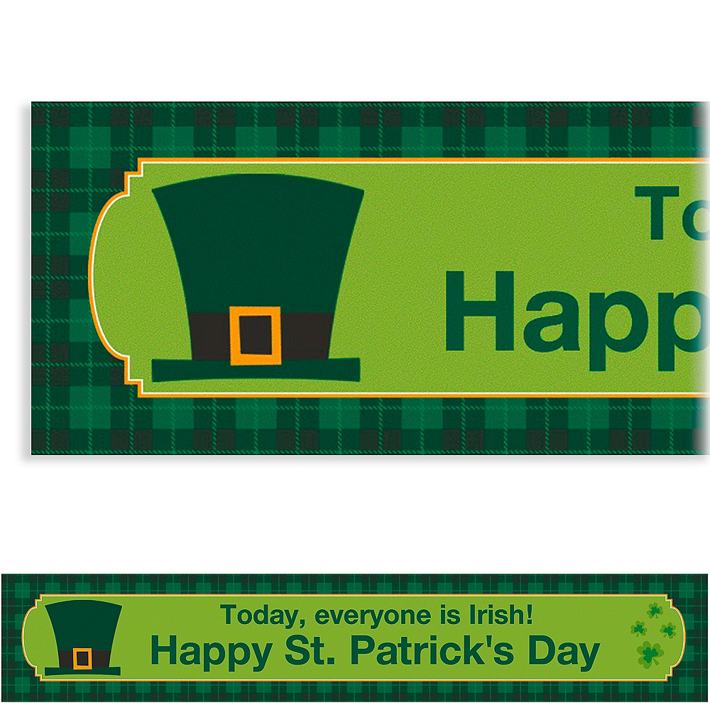 Custom St. Paddy's Day Plaid Banner 6ft Image #1
