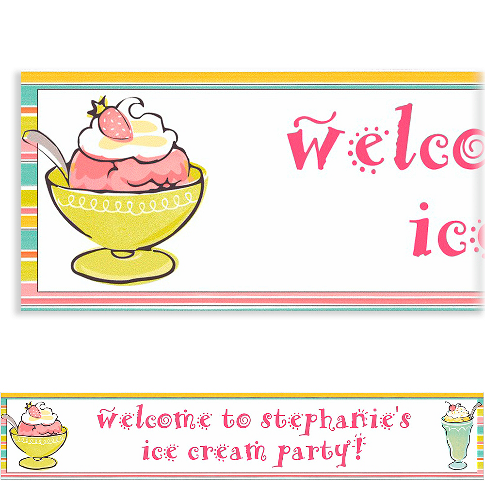 Custom Sweet Soiree Ice Cream Party Banner 6ft Image #1
