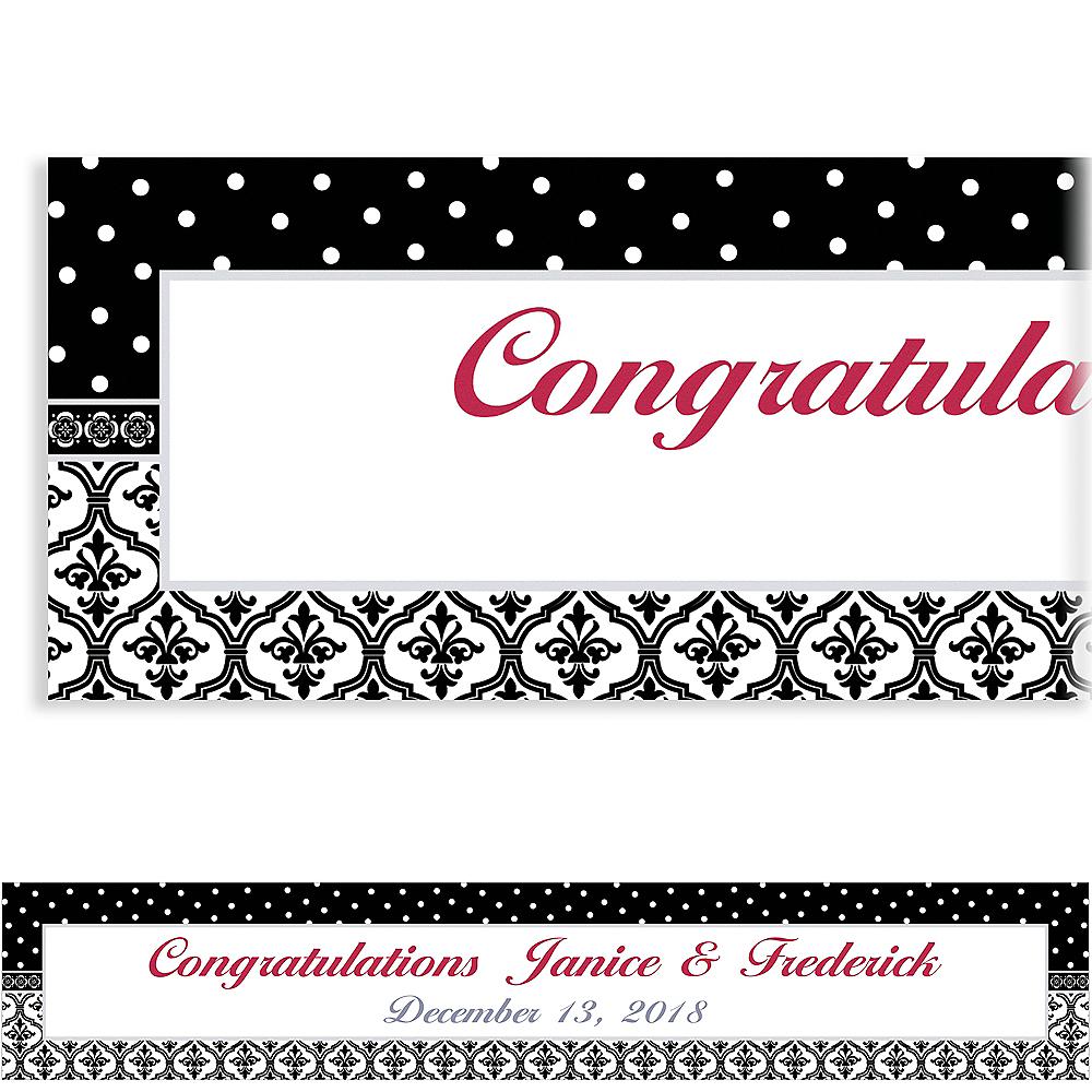 Custom Damask & Polka Dot Wedding Banner 6ft Image #1