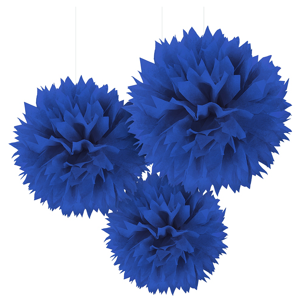 Nav Item for Royal Blue Tissue Pom Poms 3ct Image #1