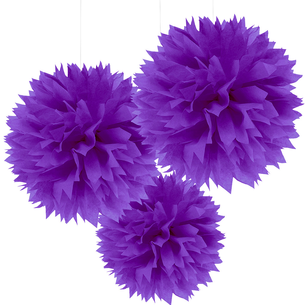 Purple Tissue Pom Poms 3ct Image #1