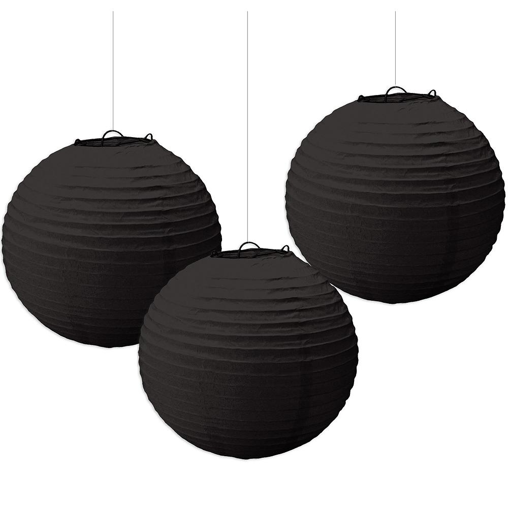 Black Paper Lanterns 3ct Image #1