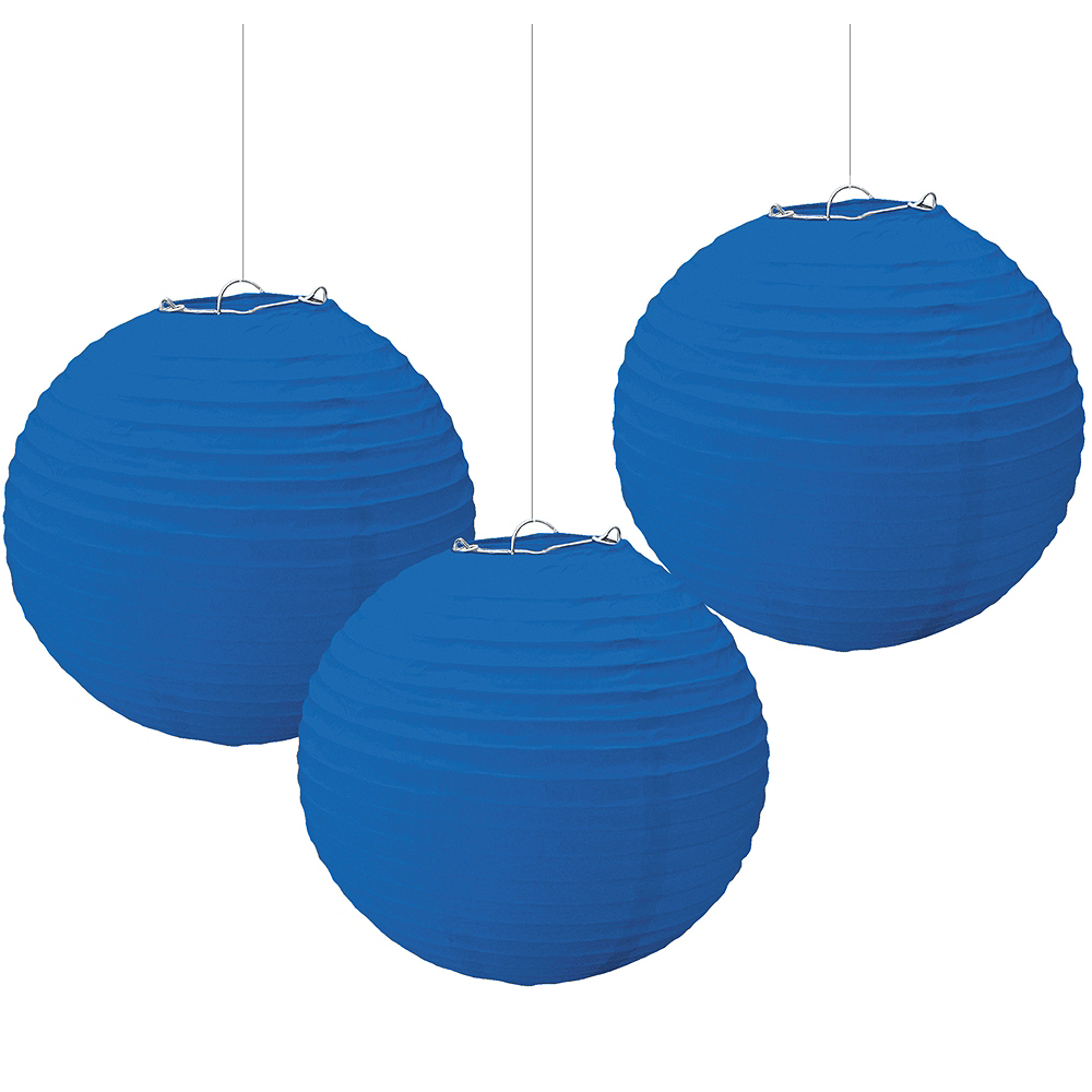 Royal Blue Paper Lanterns 3ct Image #1