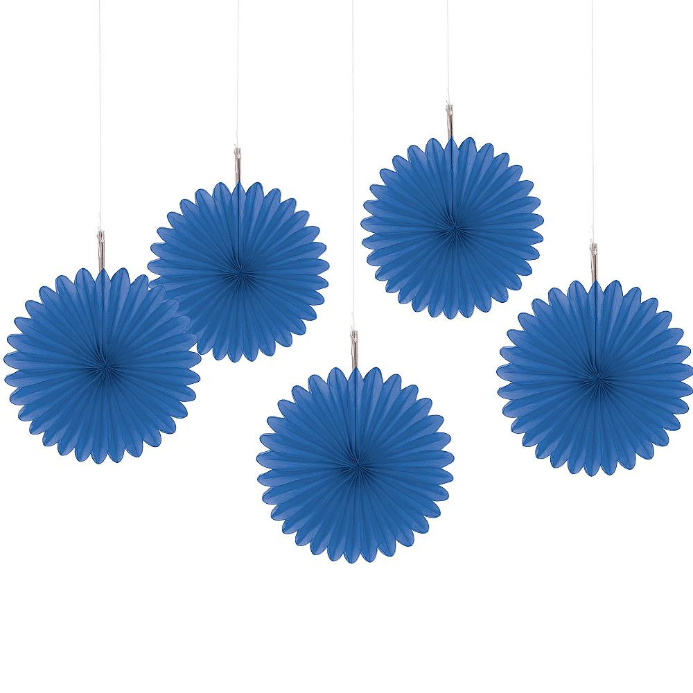 Royal Blue Mini Paper Fan Decorations 5ct Image #1