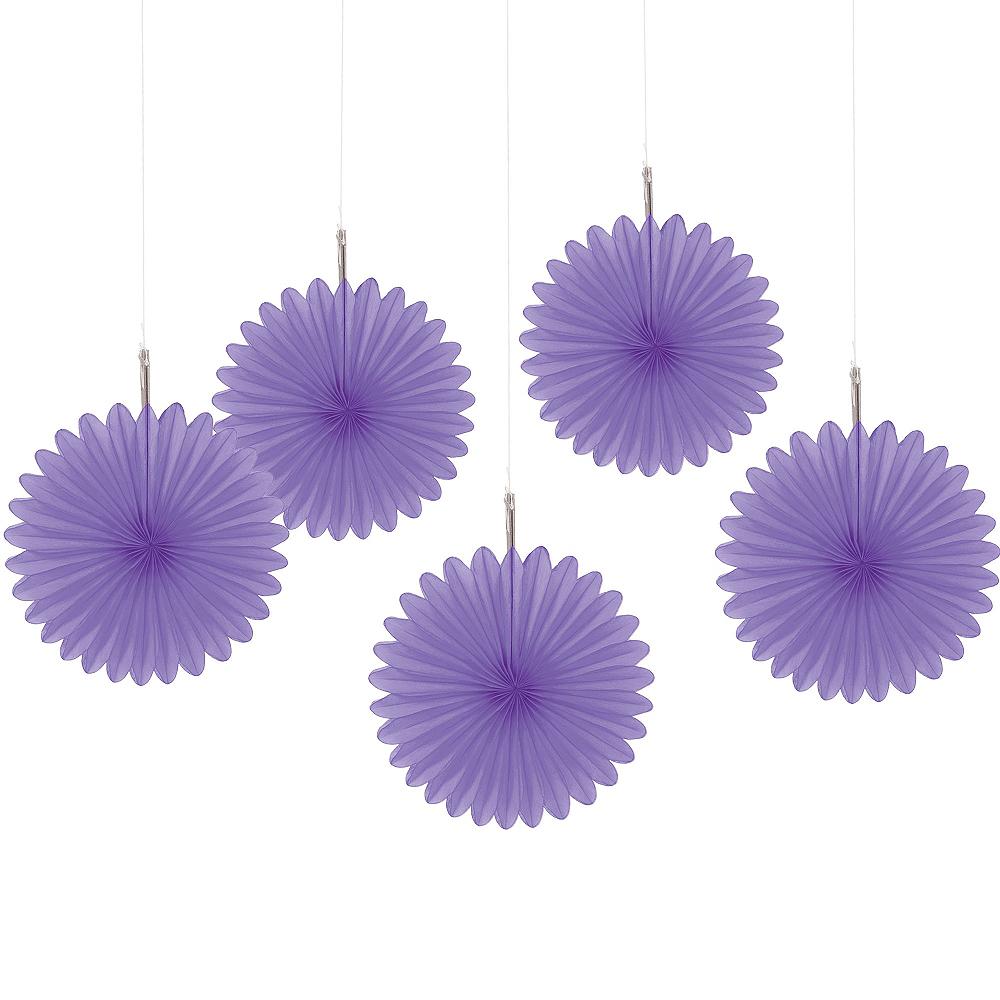 Purple Mini Paper Fan Decorations 5ct Image #1