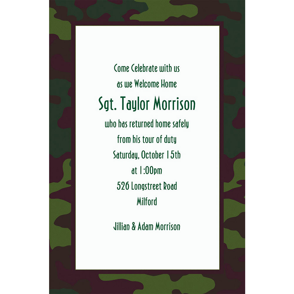 Custom Camouflage Welcome Home Invitations Image #1