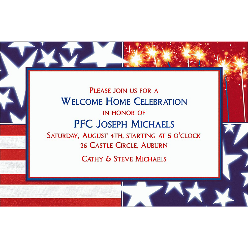 Custom Star Spangled Banner Welcome Home Invitations Image #1