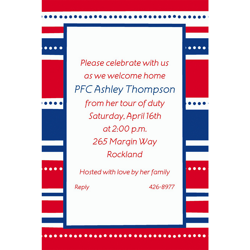 Custom American Summer Stripes Welcome Home Invitations  Image #1