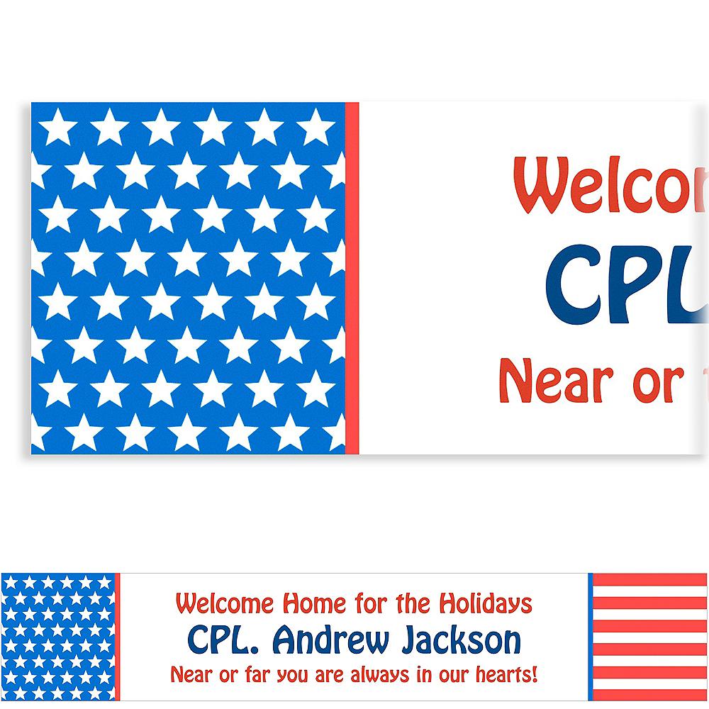Custom Red, White & Blue Stars Welcome Home Banner 6ft Image #1
