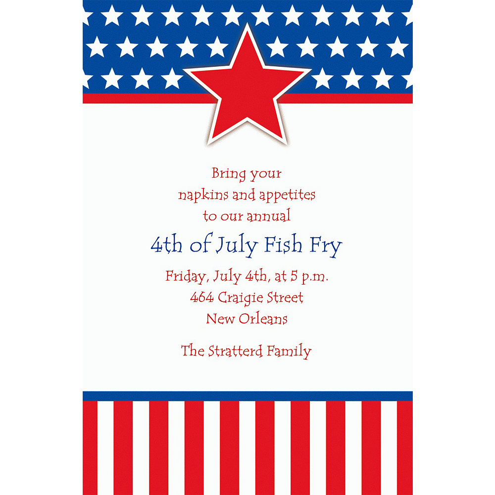 Custom Red, White & Blue Stars Patriotic Invitations Image #1