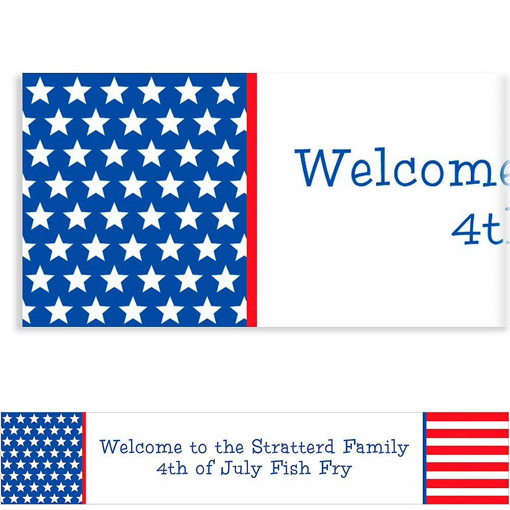 Custom Red, White & Blue Stars Patriotic Banner 6ft Image #1